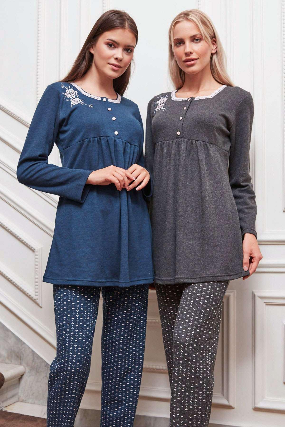 Büyük Beden Kadın Pijama Takım Lacivert