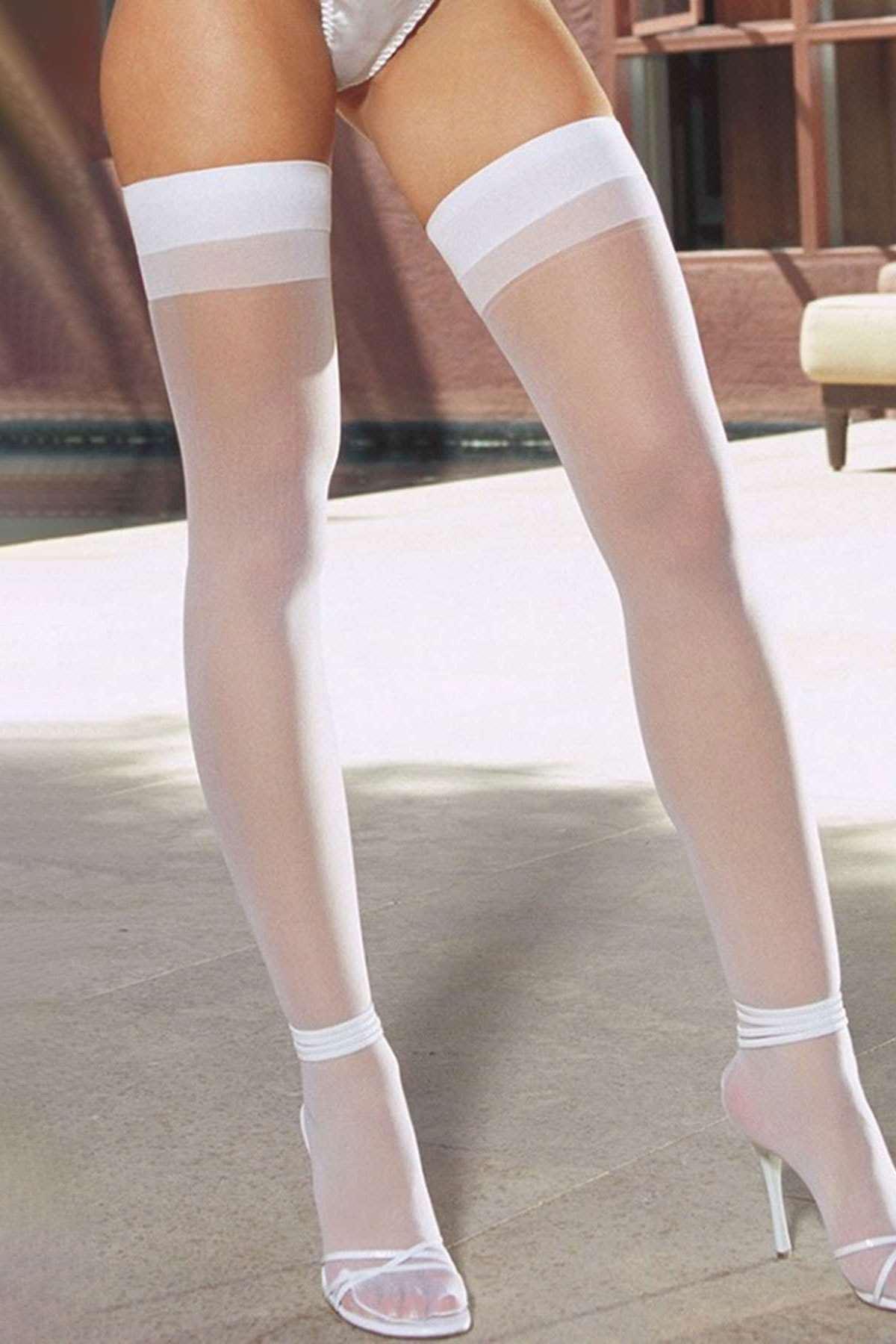 Dantelsiz Jartiyer Çorabı Beyaz
