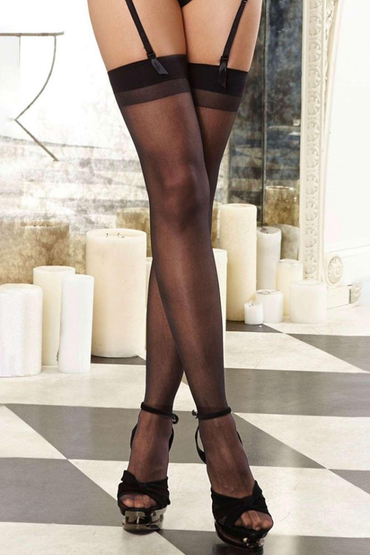 Dantelsiz Jartiyer Çorabı Siyah