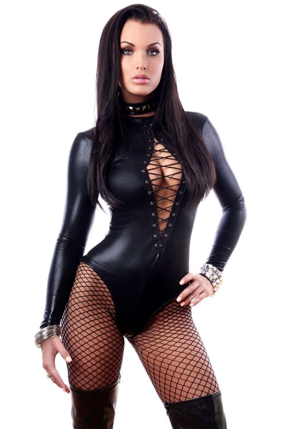 Dekolteli Deri Seksi Elbise Siyah