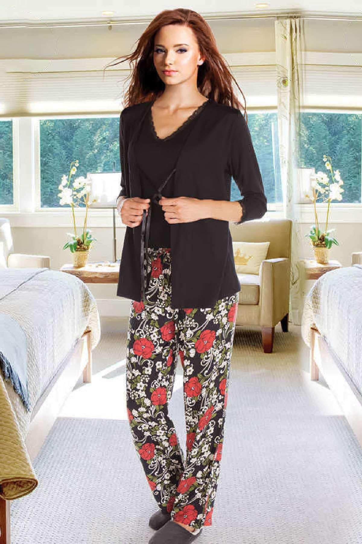 Flower Garden 3'lü Pijama Takım