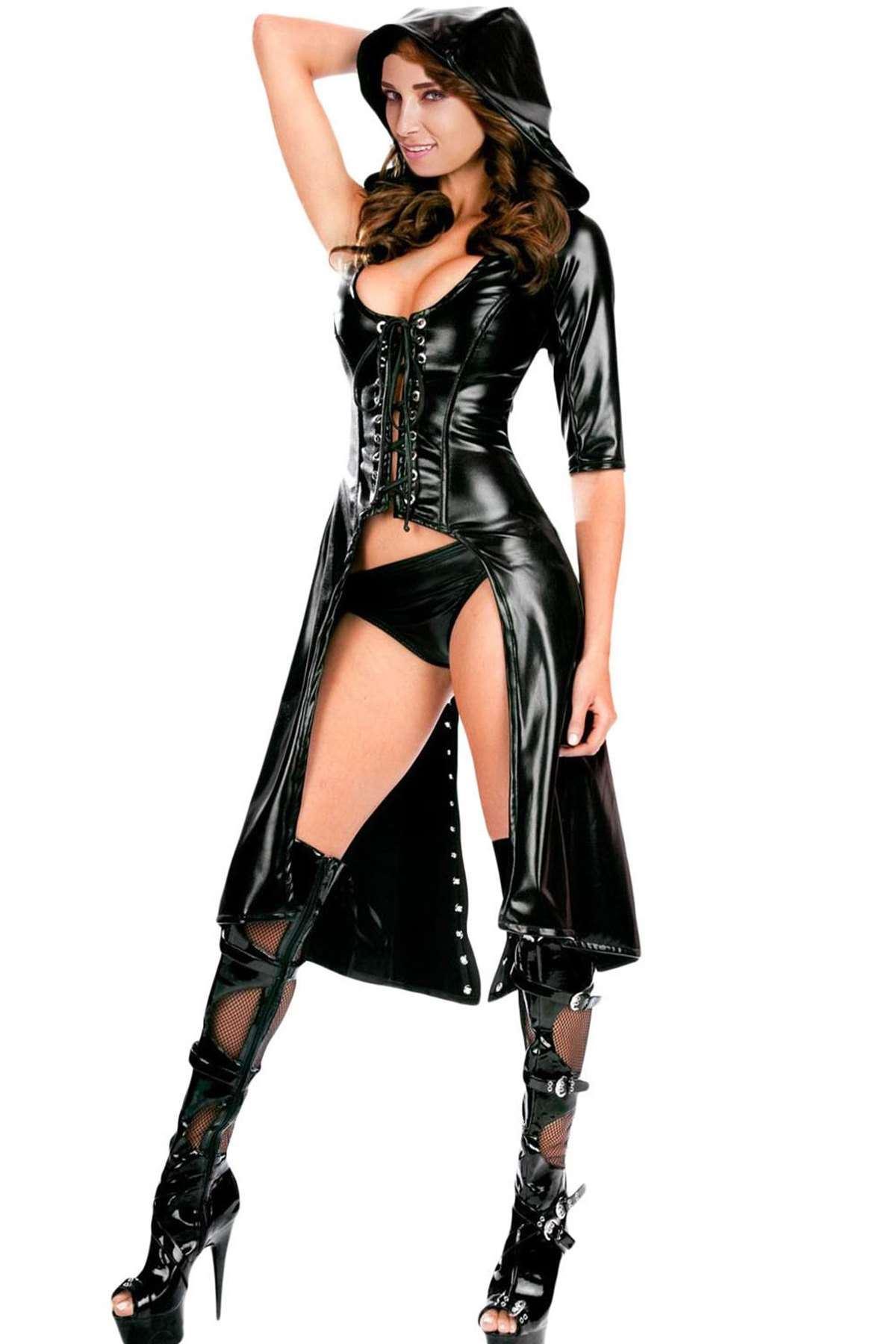 Fantazi Deri Kostüm Siyah