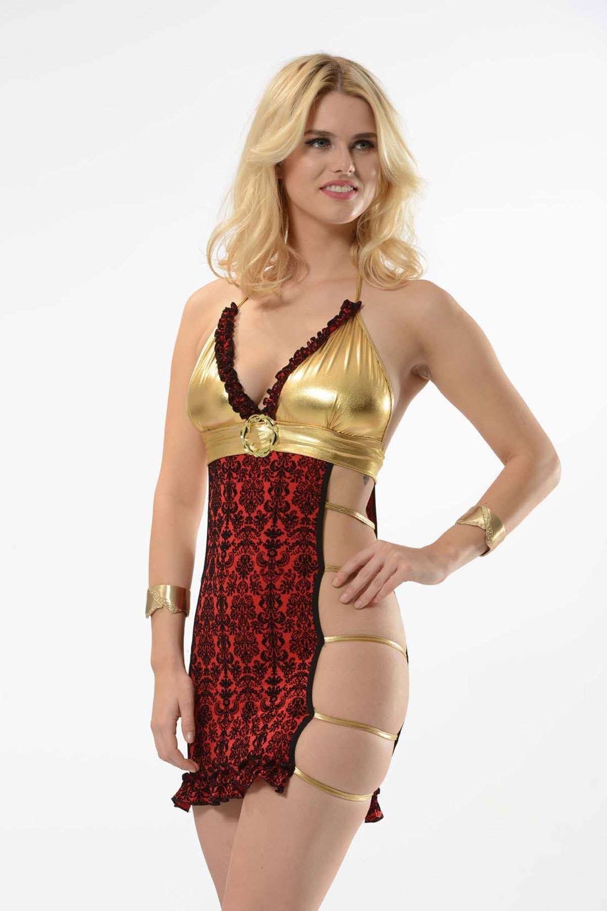 Fantazi Gece Elbisesi Gold