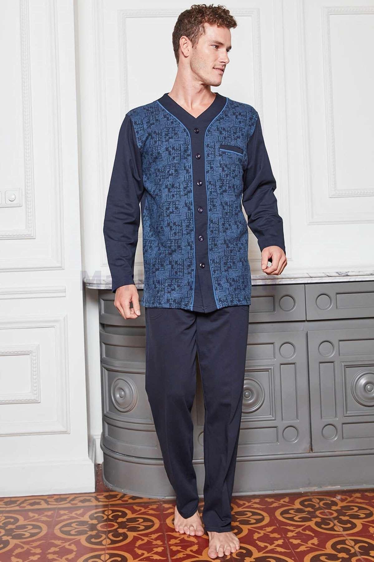 Jakarlı Boydan Düğmeli Erkek Pijama Takım İndigo