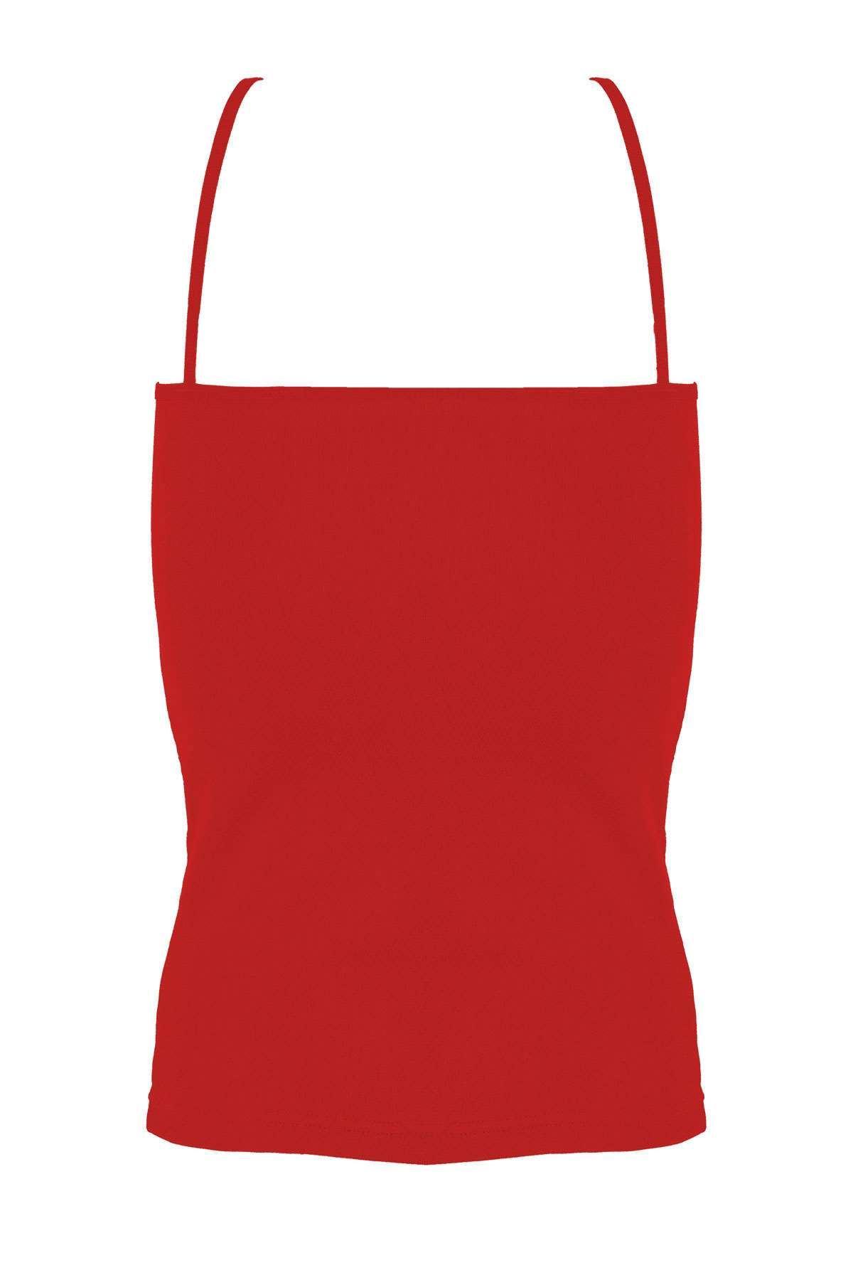 Önü Transparan Yıldızlı İp Askılı Kadın Atlet Kırmızı
