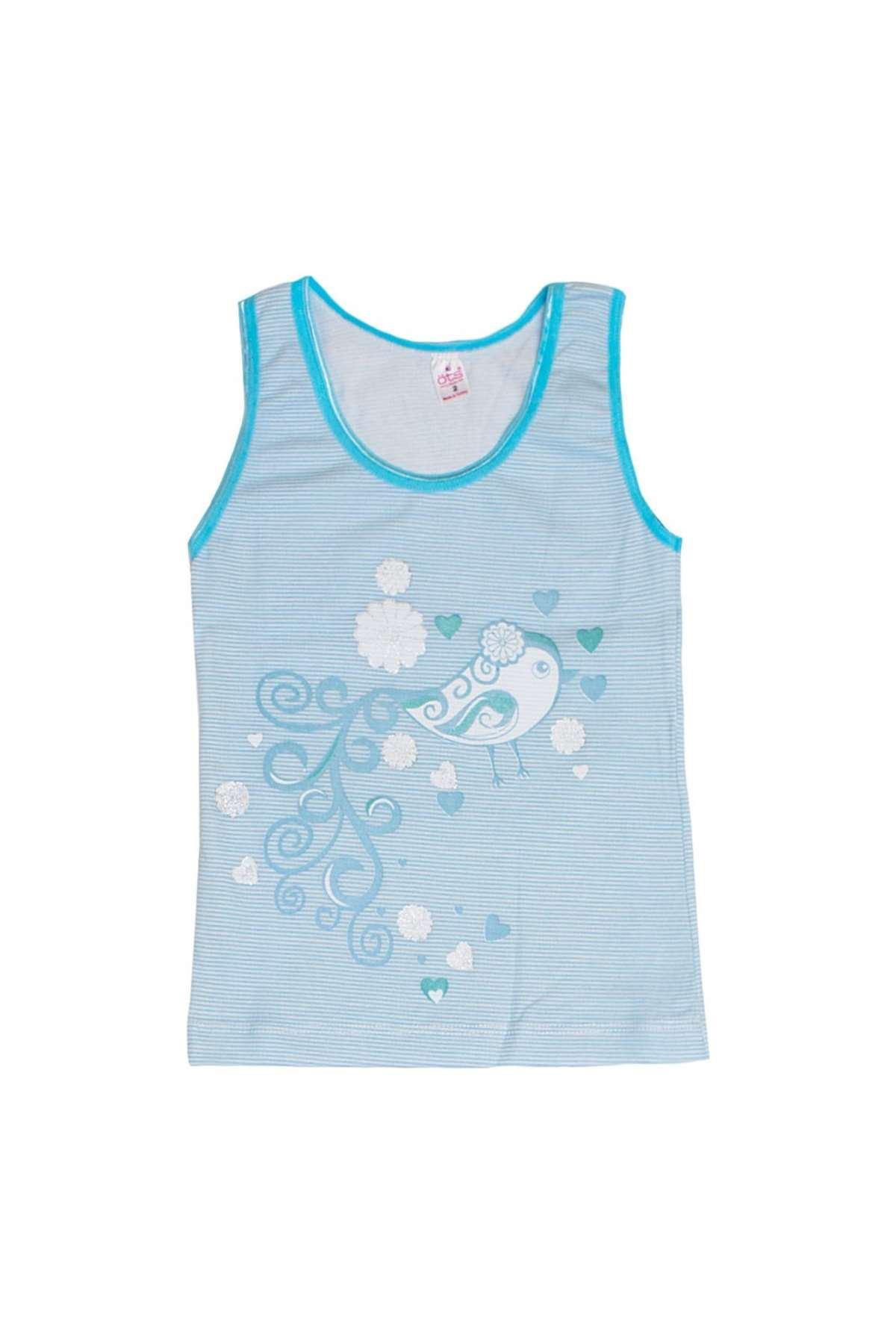 Kız Çocuk Simli Çizgili Takım Mavi