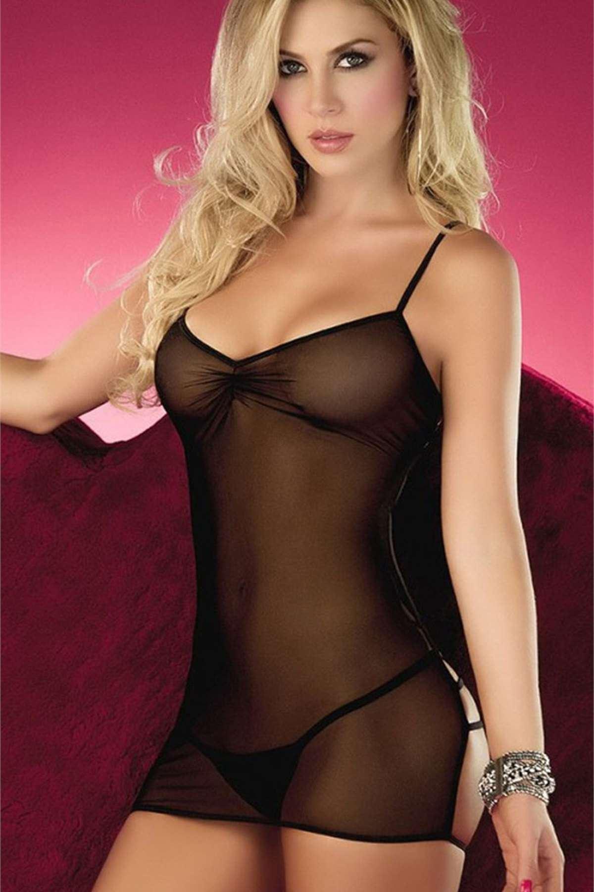 Sırt Dekolteli Erotik Elbise Siyah
