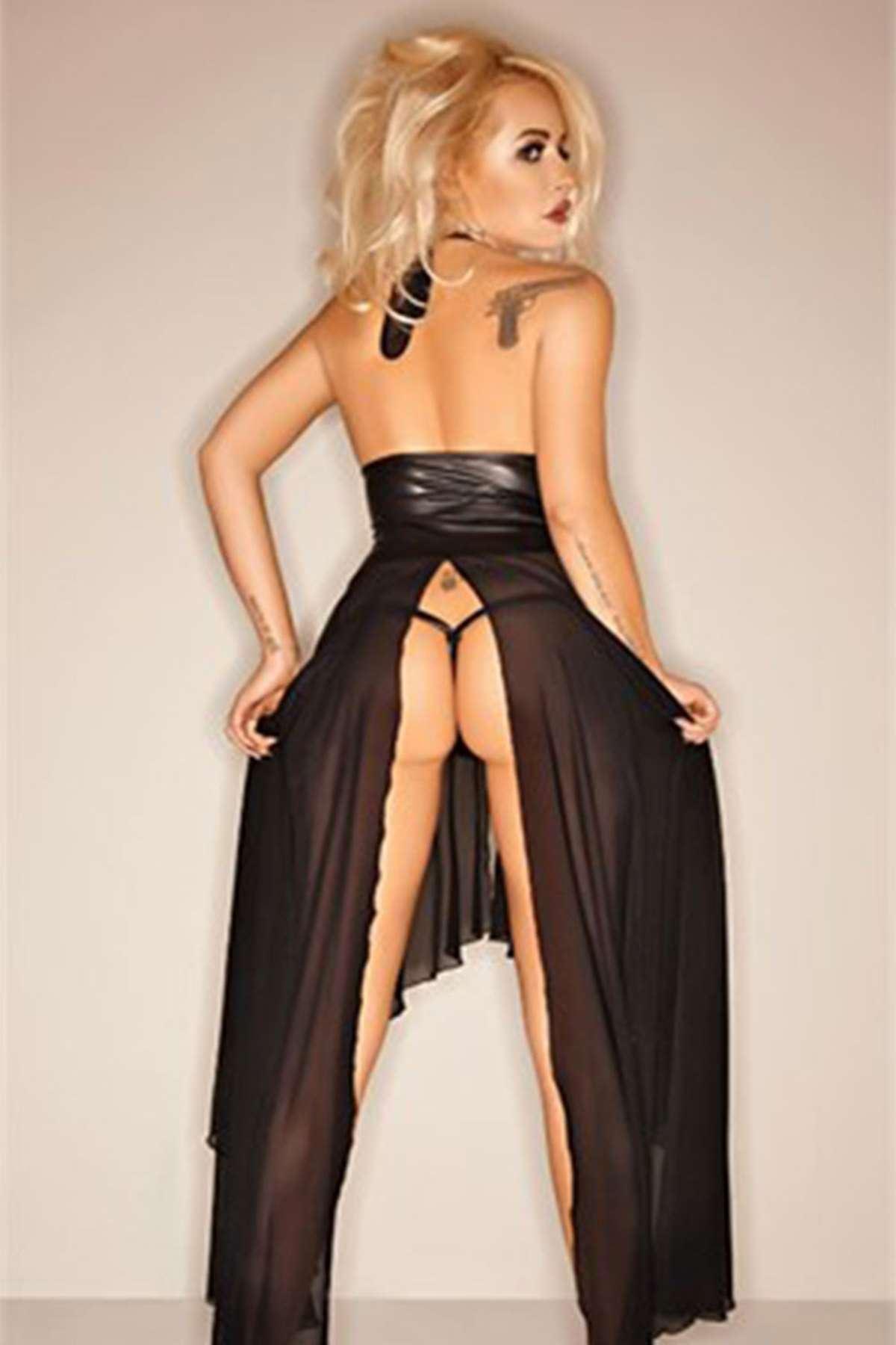 Seksi Transparan Uzun Elbise Siyah