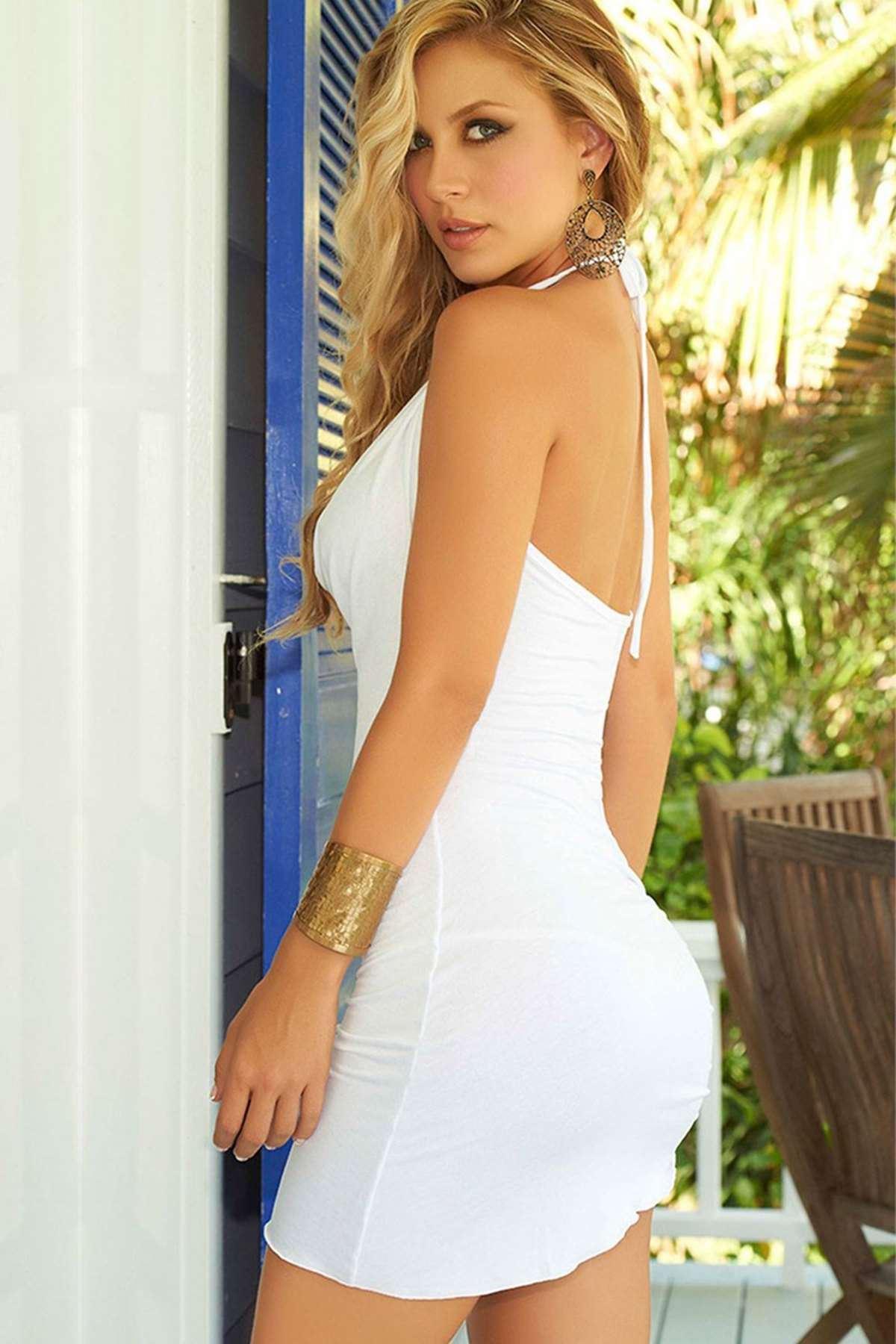 Seksi Mini Elbise Beyaz